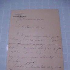 Manuscritos antiguos: CARTA MANUSCRITA DE DON RAFAEL DE LA ESCOSURA Y ESCOSURA, DIRECTOR GENERAL DE REGISTROS, 1880. Lote 56216055