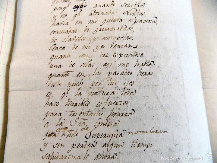 POESIA , ODA, MANUSCRITA ORIGINAL, DEDICADA A LA CONDESA DE SUPERUNDA, SIGLO XVIII. INEDITA (Coleccionismo - Documentos - Manuscritos)