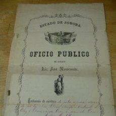 Manuscritos antiguos: TESTIMONIO DE ESCRITURA DE PODER, ESTADO DE SONORA, GUAYMAS DE ZARAGOZA, MEXICO 1876. Lote 43617011