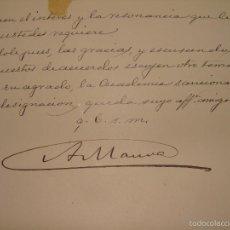 Manuscritos antiguos: CARTA AUTÓGRAFA FIRMADA POR MAURA Y ENVIADA A CANALEJAS. 1900. Lote 56965390