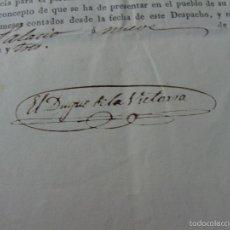 Manuscritos antiguos: ISABEL II, RETIRO HUESCA. FIRMA BALDOMERO ESPARTERO, DUQUE VICTORIA. 9 MAYO 1843. Lote 56965951