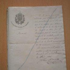 Manuscritos antiguos: FIRMA AUTOGRAFA, CARTA ESCRITA Y FIRMADA POR EL ALCALDE DE TARRAGONA, JOSE BATLLE, 1875 . Lote 57112914