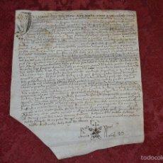 Manuscritos antiguos: MUY ANTIGUO MANUSCRITO EN PERGAMINO CON INTERESANTE FIRMA,S. XV-XVII. Lote 57198411