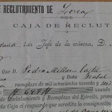 Manuscritos antiguos: ZONA DE RECLUTAMIENTO DE LORCA MURCIA REDENCIÓN SERVICIO MILITAR 1896. Lote 57218741