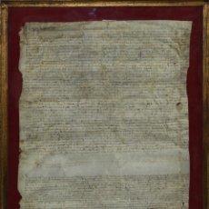 Manuscritos antiguos: I1-020. CAPITULACIONES MATRIMONIALES(?) ENTRE CAMPESINOS. PERGAMINO. SERINYÀ. 1513-1573.. Lote 57227656