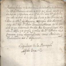 Manuscritos antiguos: 1675 - SEPULTURA EN LA PARROQUIA DE OÑA BURGOS - OBISPO PEDRO GONZALEZ MANSO. Lote 40839377