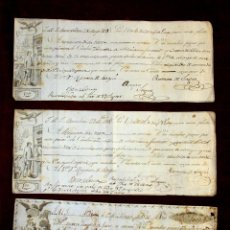 Manuscritos antiguos: DO-070. TRES PRIMERAS DE CAMBIO FIRMADAS POR RAMON SEGUI. BARCELONA. ESPAÑA.1808-1816. Lote 56897914