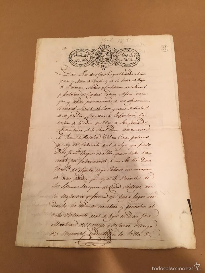 SEVILLA - NOMBRAMIENTO PRESIDENTE PATRONATO REAL LEGOS - MARQUES DE ESPEJA -1830 (Coleccionismo - Documentos - Manuscritos)