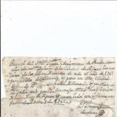 Manuscritos antiguos: 1762 GRANADA - RECIBO - FIRMA JUAN PONCE DE LEON. Lote 57536870