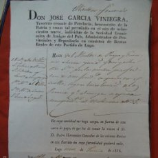 Manuscritos antiguos: 1836 LUGO GALICIA CARTA DE PAGO IMPRESA Y MANUSCRITA JOSE GARCIA VINIEGRA 1836. Lote 57616114