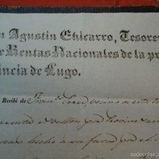 Manuscritos antiguos: 1841 LUGO GALICIA CARTA DE PAGO AGUSTÍN CHICARRO 1841. Lote 57616584