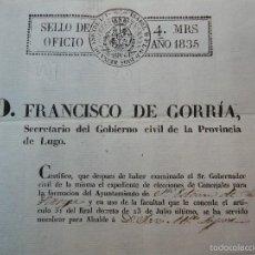 Manuscritos antiguos: 1835 LUGO GALICIA NOMBRAMIENTO DE ALCALDE POR FRANCISCO DE GORRÍA. Lote 57617076