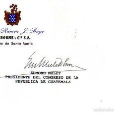 Manuscritos antiguos: SIGNED,AUTOGRAPH,FIRMA,TARJETA FIRMADA POR EDMOND MULET. VER GOOGLE.. Lote 57718395