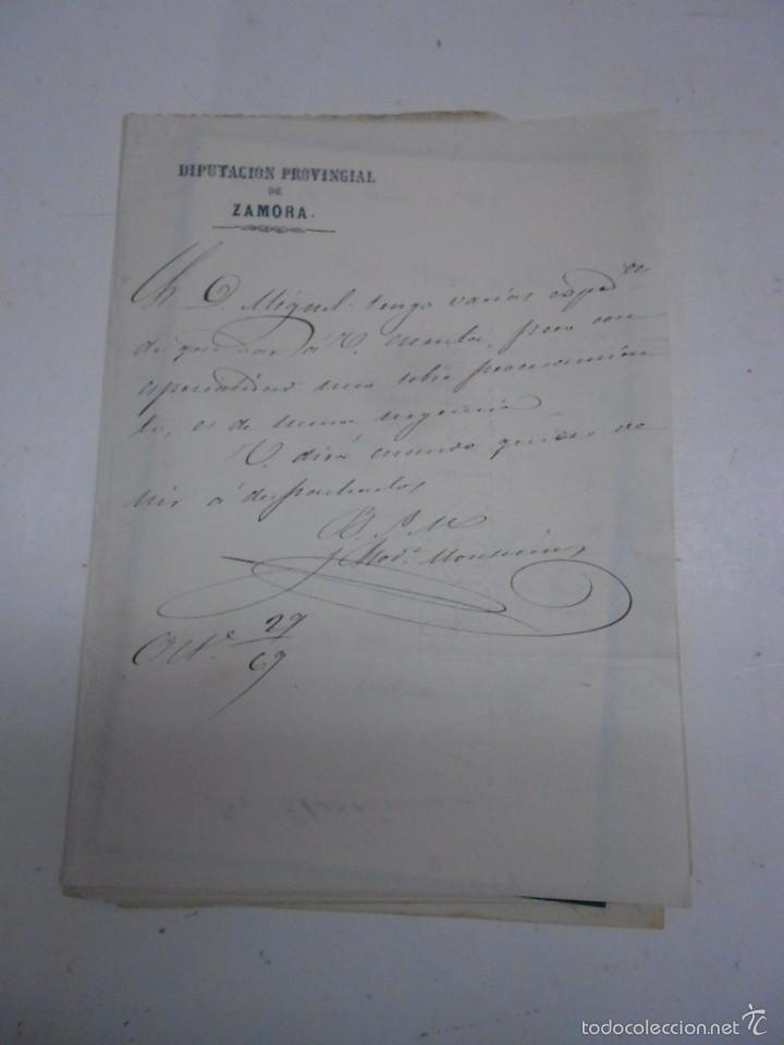 Manuscritos antiguos: MANUSCRITO: CARTAS DE CONTENIDO POLITICO. ZAMORA 1869. SENADORES Y DIPUTADOS - Foto 2 - 57995547