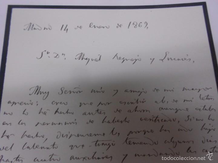 Manuscritos antiguos: MANUSCRITO: CARTAS DE CONTENIDO POLITICO. ZAMORA 1869. SENADORES Y DIPUTADOS - Foto 3 - 57995547