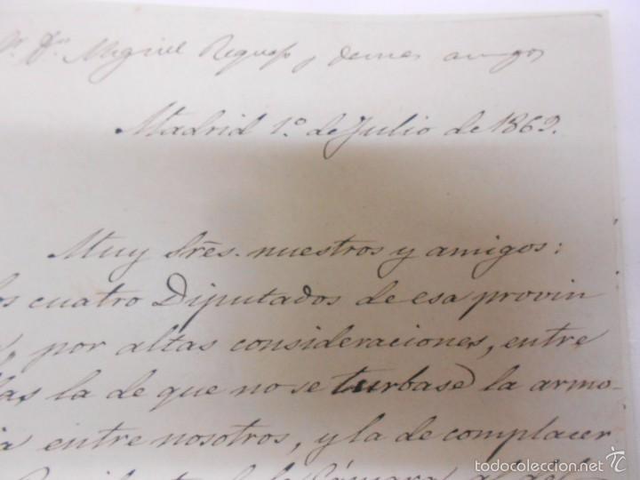 Manuscritos antiguos: MANUSCRITO: CARTAS DE CONTENIDO POLITICO. ZAMORA 1869. SENADORES Y DIPUTADOS - Foto 5 - 57995547