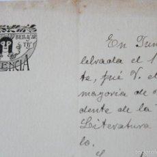 Manuscritos antiguos - CARTA FIRMADA MANUSCRITA FIRMA JOSE GROLLO CHIARRI 1909 MEMBRETE CIRCULO DE BELLAS ARTES VALENCIA - 58479014