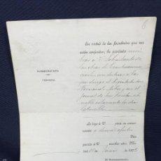 Manuscritos antiguos: MANUSCRITO NOMBRAMIENTO BELLAS ARTES SOBRESTANTE REHABILITACIÓN ARQUITECTO JORNAL 1905 22X16,5CMS. Lote 58606143
