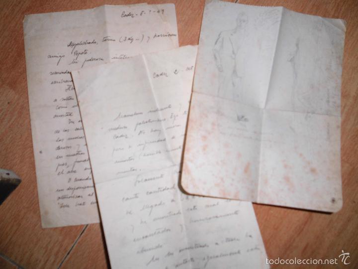 Manuscritos antiguos: manuscrito cartas y dibujos antiguos cadiz 1949 DIBUJO RETRATO Y OTROS - Foto 3 - 50854003