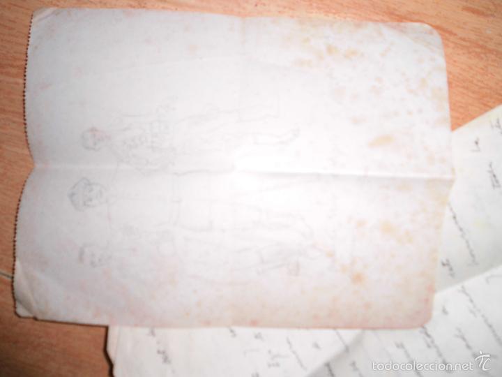 Manuscritos antiguos: manuscrito cartas y dibujos antiguos cadiz 1949 DIBUJO RETRATO Y OTROS - Foto 4 - 50854003