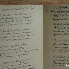 Manuscritos antiguos: FACSIMIL - CARTA MANUSCRITA Y FIRMADA POR LA FONTAINE. Lote 61491795