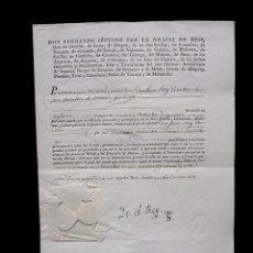 Manuscritos antiguos: 1827. TITULO DE COMISARIO ORDENADOR DE MARINA PROPIETARIO. FIRMA REAL REY FERNANDO VII. SELLO PLOMO. Lote 62005348