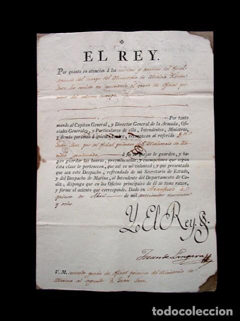 1798-CONCESION GRADO OFICIAL PRIMERO GRADUADO MINISTERIO MARINA-FIRMA REAL REY CARLOS IV-SELLO PLOMO (Coleccionismo - Documentos - Manuscritos)
