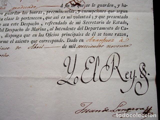 Manuscritos antiguos: 1798-CONCESION GRADO OFICIAL PRIMERO GRADUADO MINISTERIO MARINA-FIRMA REAL REY CARLOS IV-SELLO PLOMO - Foto 2 - 62009072