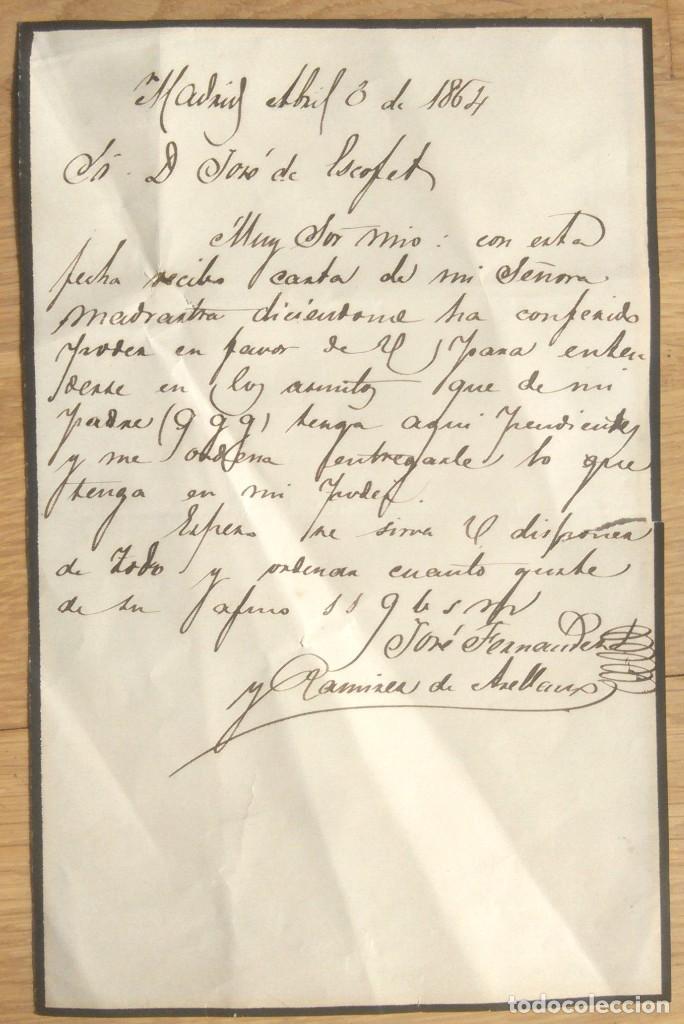 CARTA MANUSCRITA POR JOSE FERNANDEZ Y RAMIREZ DE ARELLANO - MADRID 1864 (Coleccionismo - Documentos - Manuscritos)