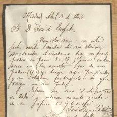 Manuscritos antiguos: CARTA MANUSCRITA POR JOSE FERNANDEZ Y RAMIREZ DE ARELLANO - MADRID 1864. Lote 62043960