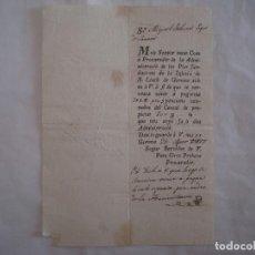 Manuscritos antiguos: CARTA DE 1827 A MIQUEL ROBIRA PAGES DE SARRIÀ. IGLESIA DE ST. LLUCH. GERONA.. Lote 62260544
