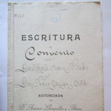 Manuscritos antiguos: ESCRITURA DE CONVENIO MANUSCRITA BADALONA 1904. Lote 62275664