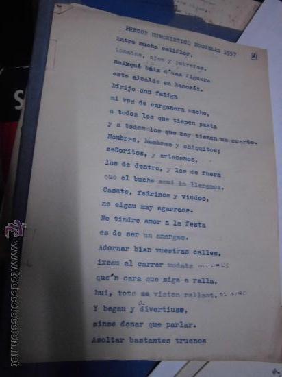 ORIGINAL PREGON HUMOISTICO HOGUERAS DE SAN JUAN ALICANTE 1957 MECANOSCRITO ORIGINAL (Coleccionismo - Documentos - Manuscritos)