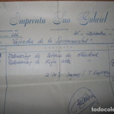 Manuscritos antiguos: IMPRENTA SAN GABRIEL ALICANTE FACTURA ANTIGUA MANUSCRITA CON SELLO. Lote 64085227