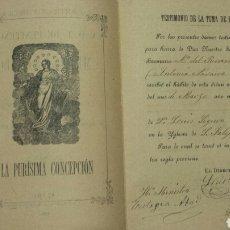 Manuscritos antiguos: UNICO! TOMA HÁBITO HERMANA MARIA DEL ROSARIO 1917. ORDEN FRANCISCANAS CONCEPCIONISTA NOVELDA- ELCHE. Lote 64106590