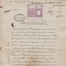 Manuscritos antiguos: PONDERADA (LEON ) 1888 ,SELLO 10, 2 PESETA DOCUMENTO MANUSCRITO FISCAL PAPEL TIMBRADO SELLADO. Lote 64736095