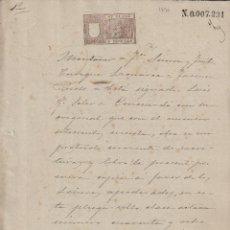 Manuscritos antiguos: 1896 , SELLO 8 CLASE ,5 PESETAS DOCUMENTO MANUSCRITO FISCAL PAPEL TIMBRADO SELLADO. Lote 64736587