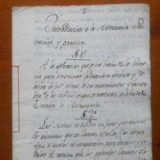 Manuscritos antiguos: INTRODUCCIÓN A LA ASTRONOMIA GEOMÉTRICA Y PRÁCTICA, 20 PAGS, S XVIII?. Lote 65809470