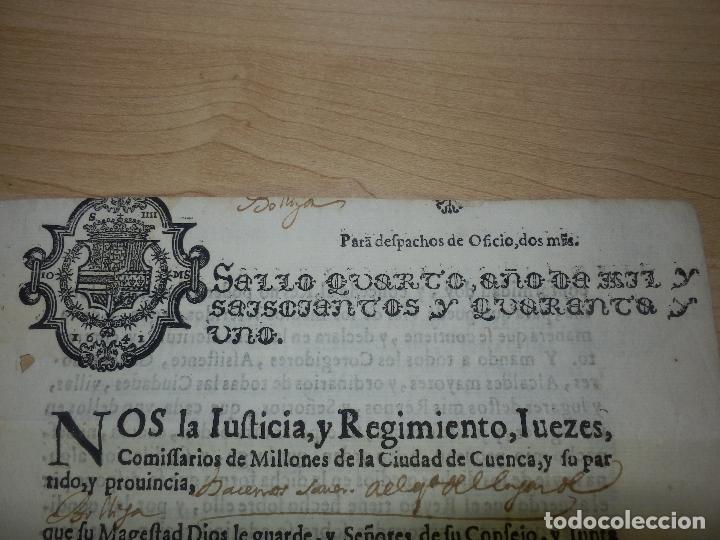 Manuscritos antiguos: Cédula Manuscrito El rey Pago Sueldos a 8000 soldados con Sisas en Fuenterabia Sello Cuarto de 1641 - Foto 2 - 66168686
