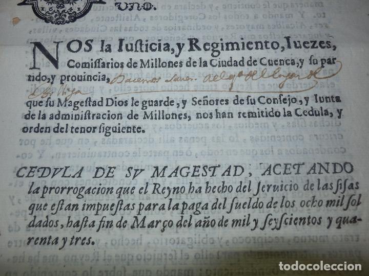 Manuscritos antiguos: Cédula Manuscrito El rey Pago Sueldos a 8000 soldados con Sisas en Fuenterabia Sello Cuarto de 1641 - Foto 3 - 66168686