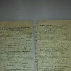 Manuscritos antiguos: RECIBO IMPUESTO DE CONSUMO Y LIQUIDOS. JUMILLA 1915 / 1916. REPARTO VECINAL DE CONSUMOS. Lote 66231029