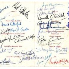 Manuscritos antiguos: SIGNED, AUTOGRAPH, FIRMA, TARJETA FIRMADA POR PARTICIPANTES EN CENA POR EL CENTANARIO DE DUFF GORDON. Lote 67581413