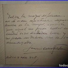 Manuscritos antiguos: MANUSCRITO FIRMADO POR CALVO SOTELO EN 1948.. Lote 68509509