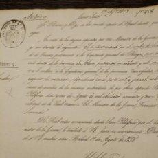 Manuscrits anciens: 1853 CIRCULAR MINISTERIO GUERRA EL CONDADO DE TREVIÑO PASA A LA CAPITANIA VASCONGADAS BURGOS ALAVA. Lote 70569053