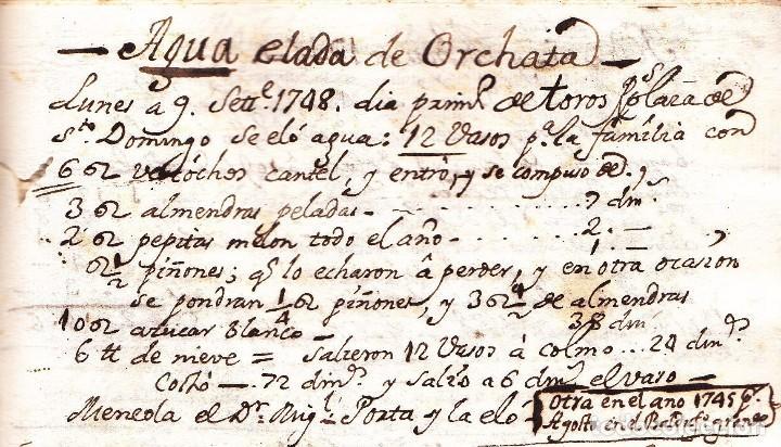 MANUSCRITO DE LA PRIMERA RECETA DE HORCHATA DE LA HISTORIA VALENCIA AÑO 1748 SIGLO XVIII (Coleccionismo - Documentos - Manuscritos)
