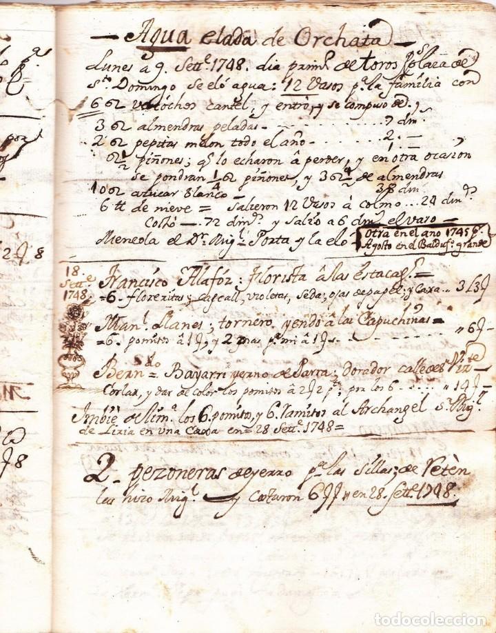 Manuscritos antiguos: Manuscrito de la primera receta de horchata de la historia Valencia año 1748 siglo XVIII - Foto 2 - 71042797