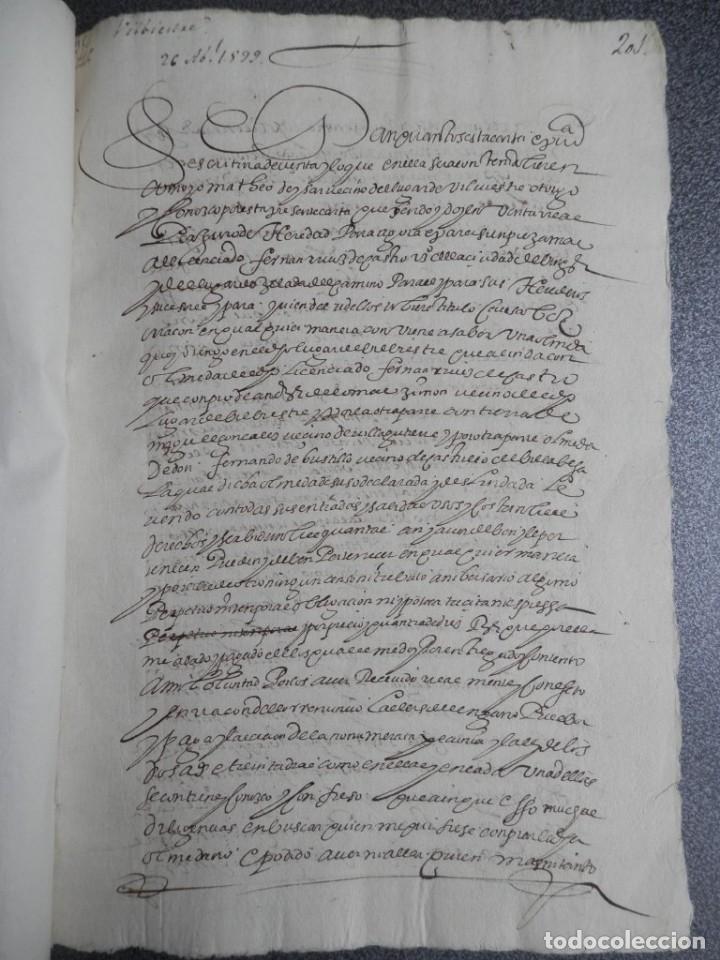 MANUSCRITO FIRMADO AÑO 1599 VILVIESTRE - BURGOS ARRENDAMIENTO DE UNA OLMEDA, COMPLETO DE 5 PAGINAS (Coleccionismo - Documentos - Manuscritos)
