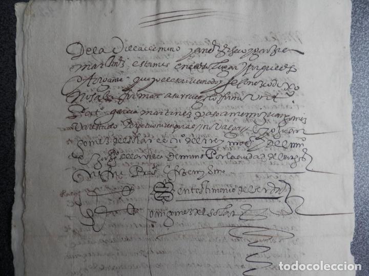 Manuscritos antiguos: MANUSCRITO FIRMADO AÑO 1599 VILVIESTRE - BURGOS ARRENDAMIENTO DE UNA OLMEDA, COMPLETO DE 5 PAGINAS - Foto 3 - 71171293