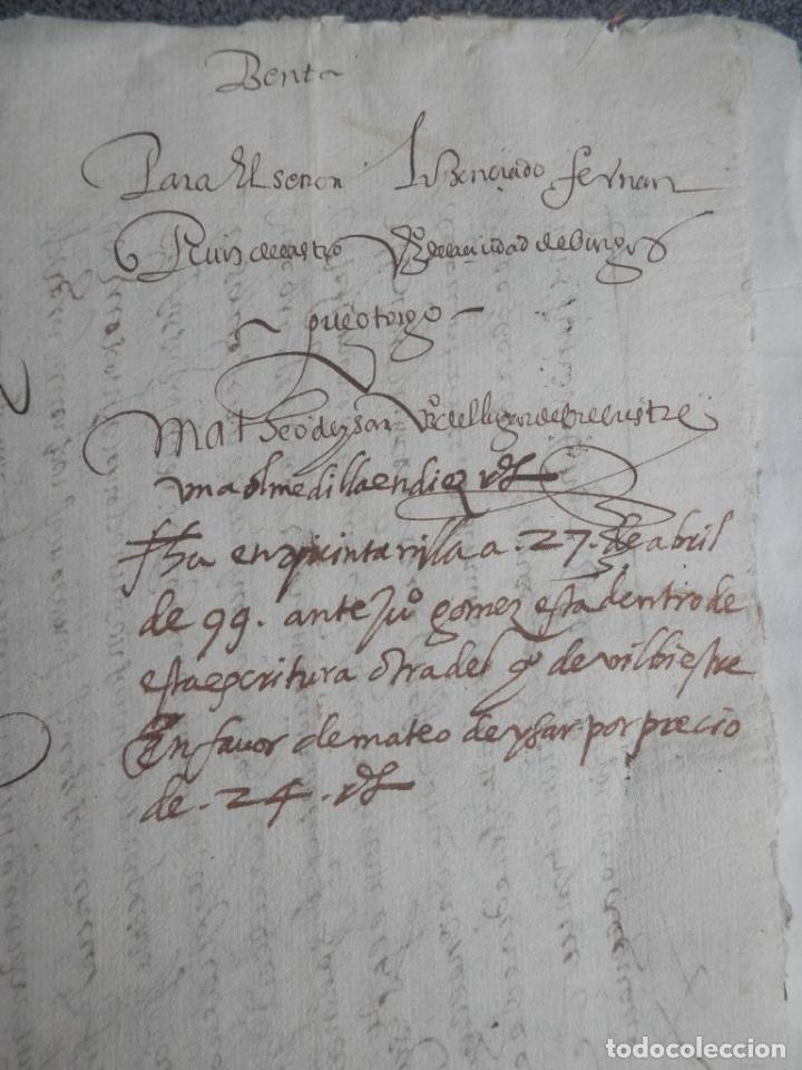 Manuscritos antiguos: MANUSCRITO FIRMADO AÑO 1599 VILVIESTRE - BURGOS ARRENDAMIENTO DE UNA OLMEDA, COMPLETO DE 5 PAGINAS - Foto 4 - 71171293