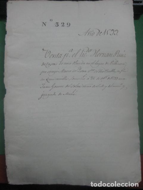 Manuscritos antiguos: MANUSCRITO FIRMADO AÑO 1599 VILVIESTRE - BURGOS ARRENDAMIENTO DE UNA OLMEDA, COMPLETO DE 5 PAGINAS - Foto 5 - 71171293
